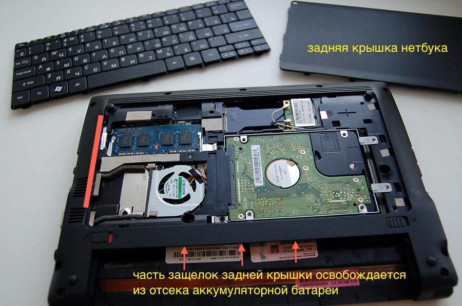 Ноутбук разобранный