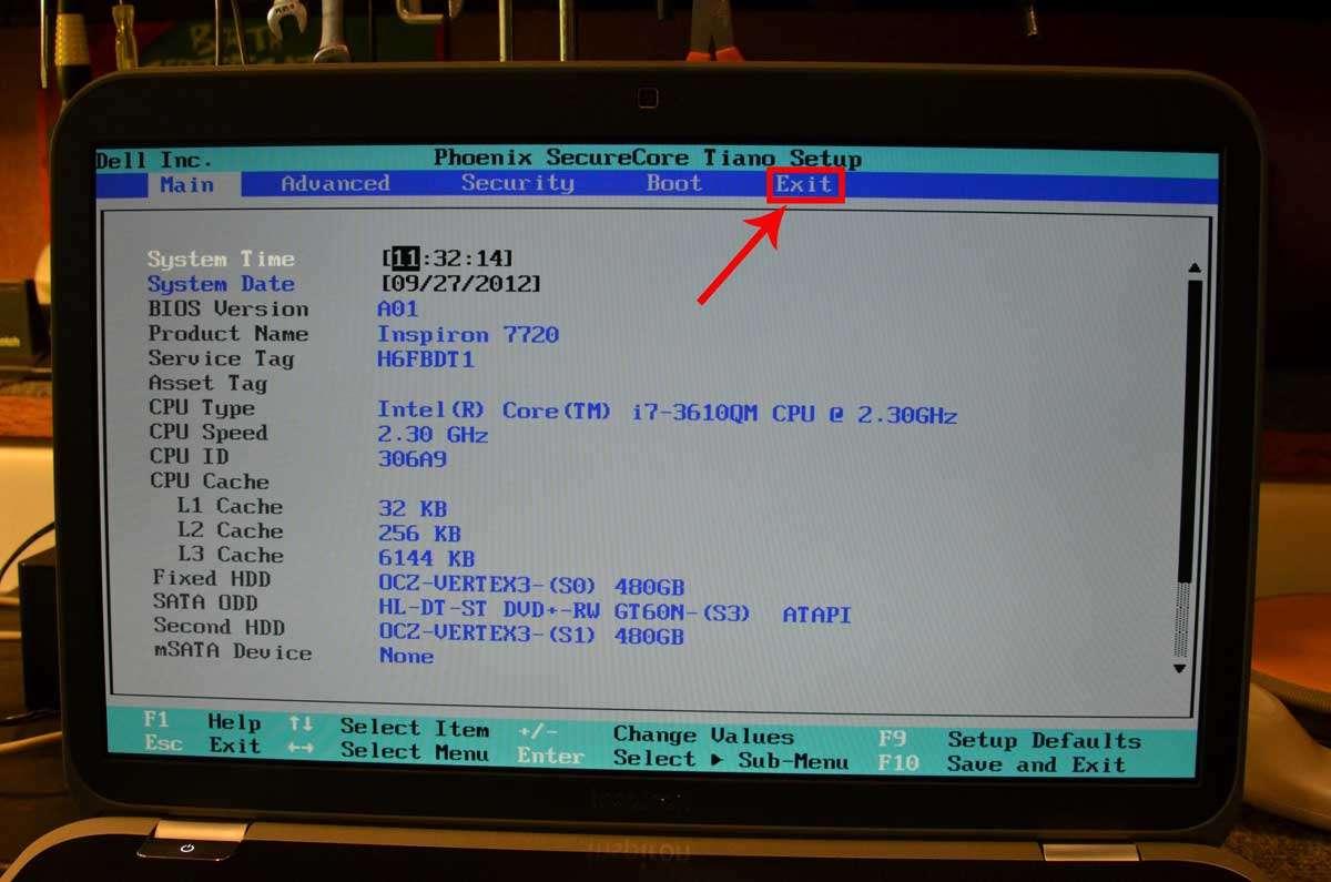 Сброс биоса ноутбука до заводских настроек