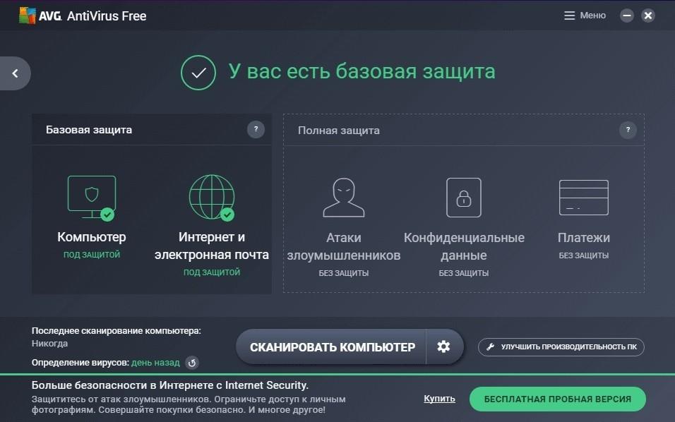 Анализ защиты AVG AntiVirus FREE